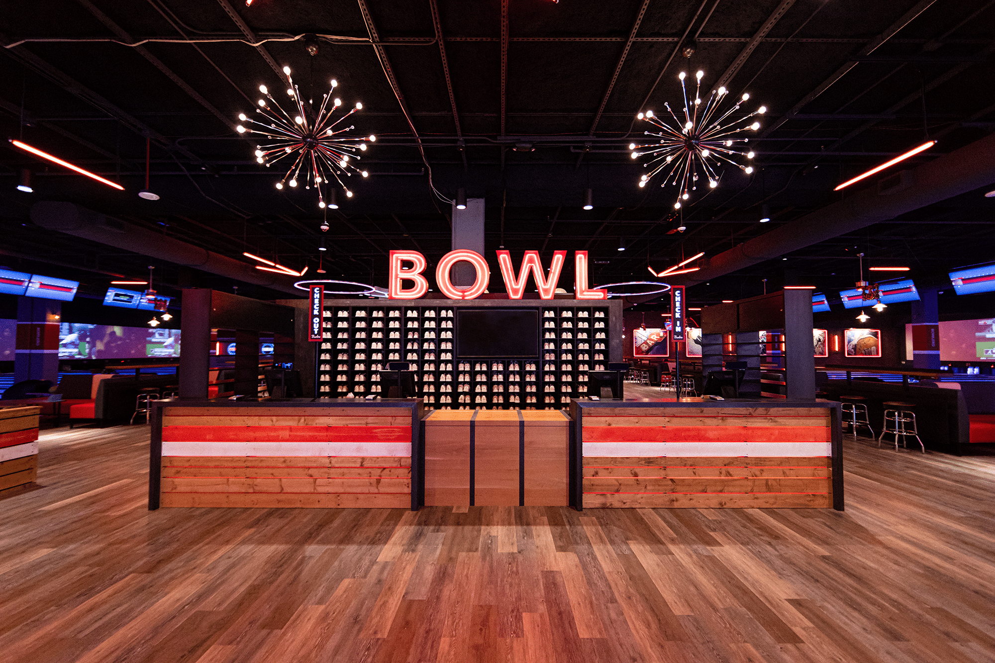Bowl sign and front desk at bowling alley.