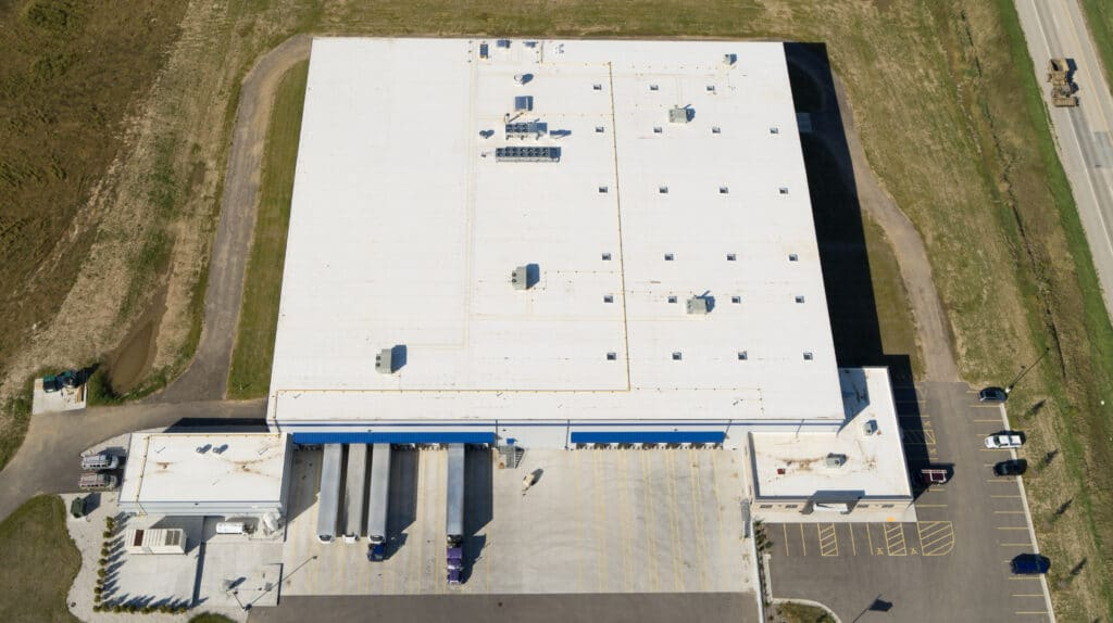 Aerial overhead view of Cedar Valley Cheese Facility