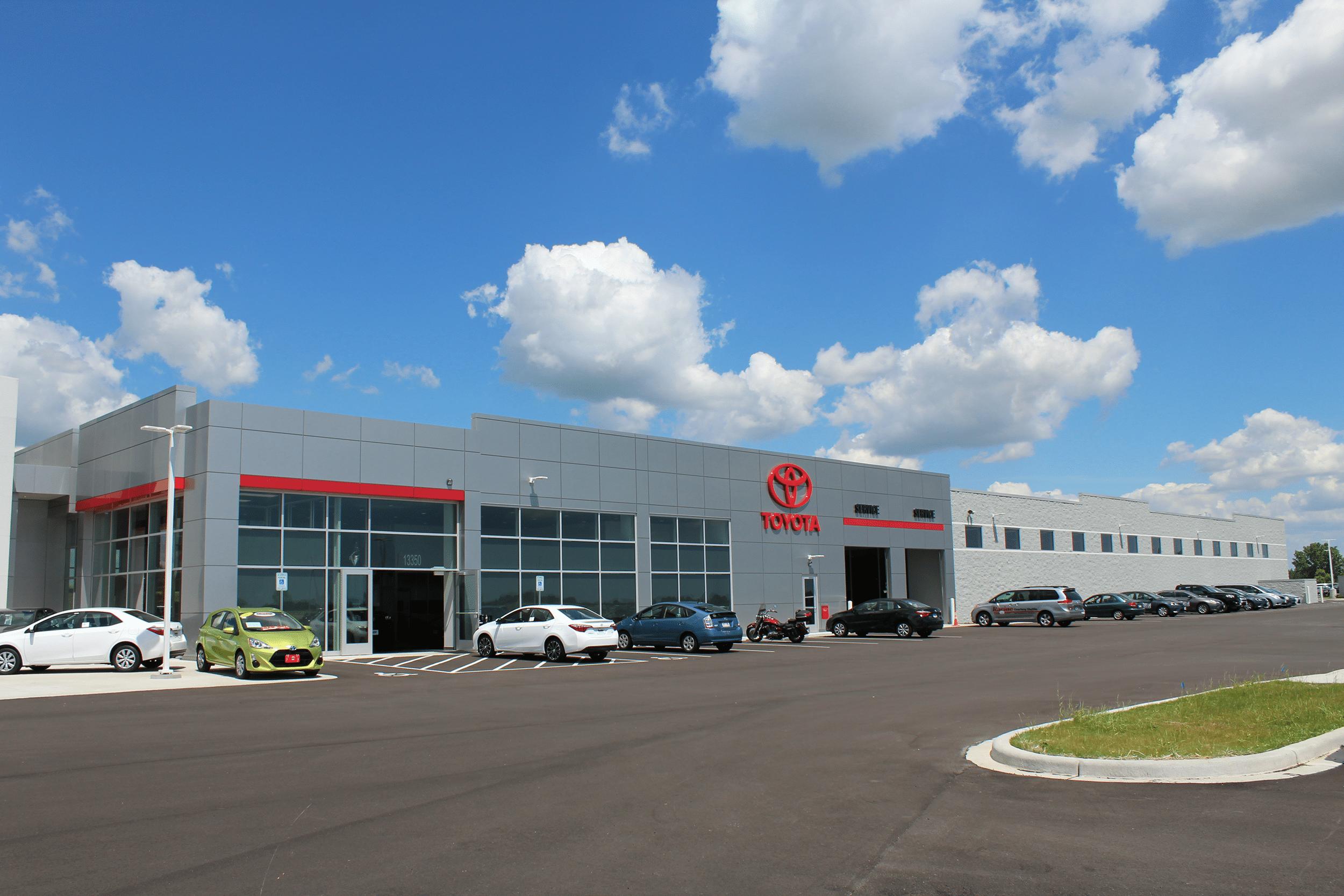 Side view of Racine Toyota car dealership
