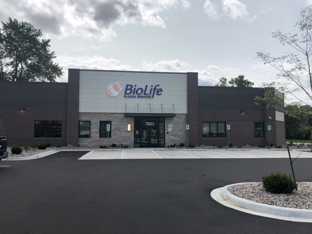 Front view of BioLife Greenfield building